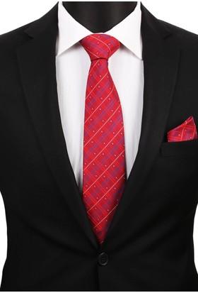 La Pescara Kırmızı Mendilli Klasik Kravat 3219