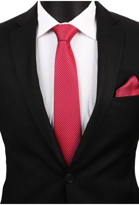 La Pescara Kırmızı Mendilli Klasik Kravat 2823