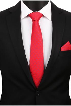 La Pescara Kırmızı Mendilli Klasik Kravat 3187