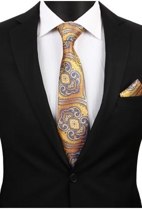 La Pescara Sarı Motif Mendilli Klasik Kravat 3158