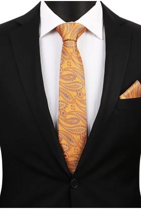 La Pescara Sarı Şal Mendilli Klasik Kravat 3192