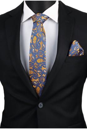 La Pescara Sarı Şal Mendilli Klasik Kravat 3400