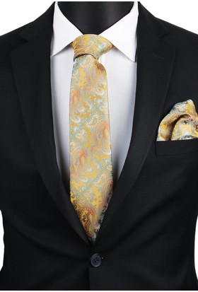 La Pescara Sarı Şal Mendilli Klasik Kravat 3408