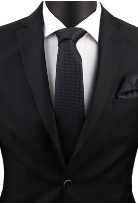 La Pescara Siyah Mendilli Klasik Kravat 3584