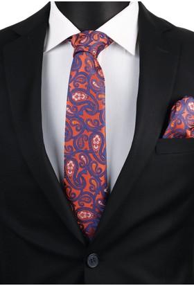 La Pescara Turuncu Şal Mendilli Klasik Kravat 3396