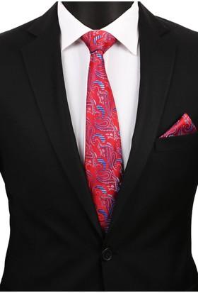 La Pescara Kırmızı Şal Mendilli Klasik Kravat 3261