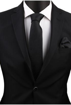La Pescara Siyah Şal Mendilli Klasik Kravat 3605