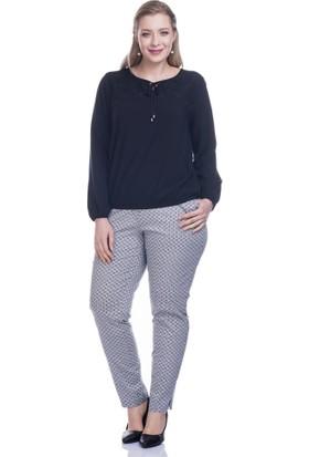 Myline Baskılı Streç Saten Pantolon