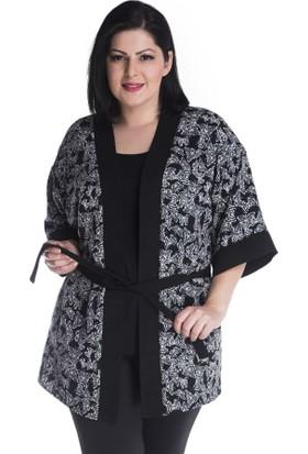 Myline Siyah Kelebek Desenli Kimono Ceket