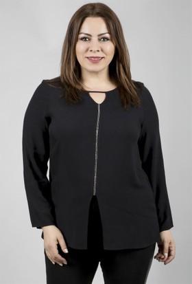 Myline Zincir Detaylı Uzun Kollu Viskon Bluz