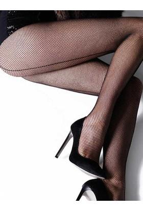 Mite Love Arkası Çizgili File Külotlu Çorap Siyah