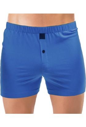 Thedon Saks Mavi Renk Jersey Penye Örme Boxer