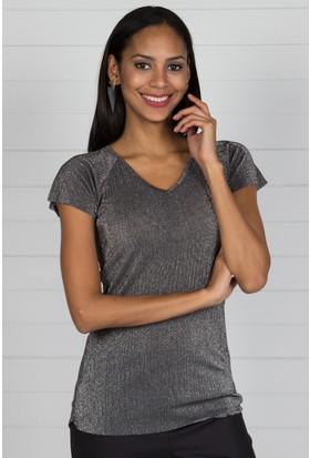 Pinkmark Kadın Gümüş T-Shirt