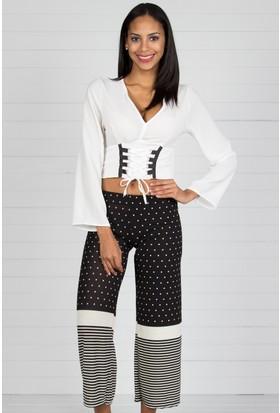 Pinkmark Kadın Siyah Beyaz Capri