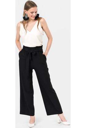 İroni Yüksek Bel Siyah Lastikli Pantolon - 1693-1220