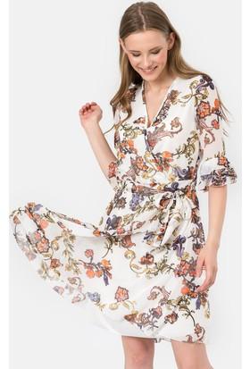 İroni İspanyol Kol Çiçekli Şifon Elbise - 5042-1232