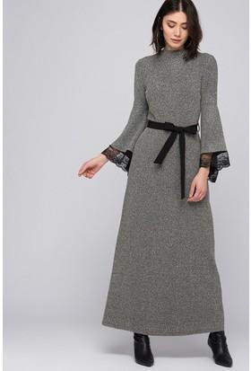 İroni Buklet Dantelli Uzun Elbise - 5167-981