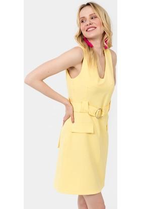 İroni Kemerli V Yaka Elbise - 5172-891