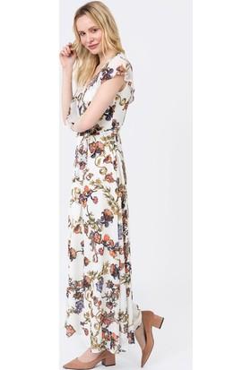 İroni Çiçek Desenli Uzun Şifon Elbise - 5184-1232