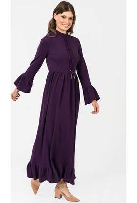 İroni Kol Ve Etek Ucu Volanlı Uzun Elbise - 5187-1236