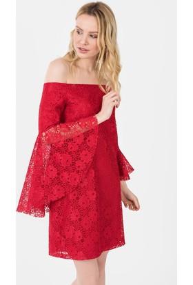 İroni Straplez Dantel Mini Elbise - 5191-1239