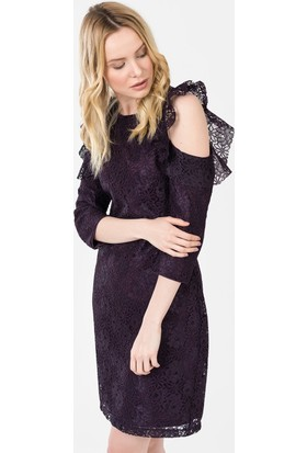 İroni Kol Detaylı Dantel Elbise - 5195-1239