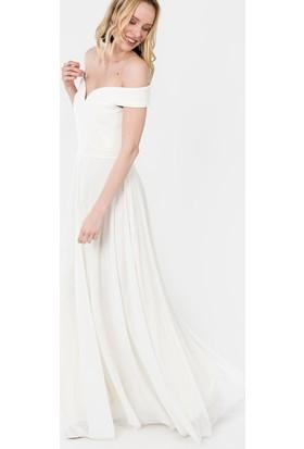 İroni Kayık Yaka Uzun Abiye Elbise - 5196-1240