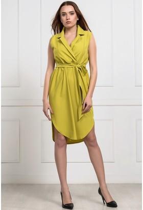 İroni Kruvaze Yaka Yanları Yırtmaçlı Orta Bas Elbise - 5992-903 Fosfor-Yesılı