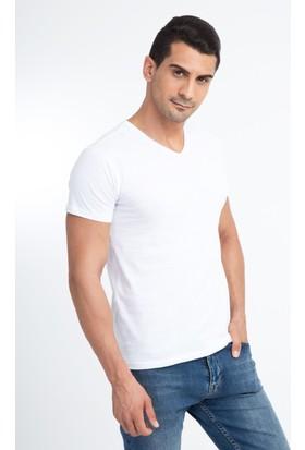 Kiğılı V Yaka Slimfit Tişört