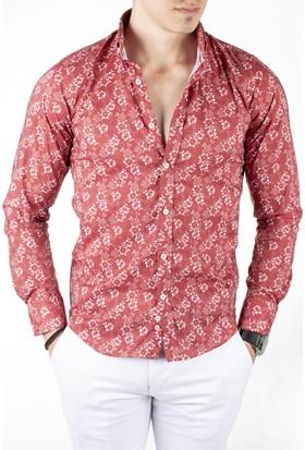 Deepsea Kırmızı Çiçek Desenli Uzun Kollu Erkek Gömlek 1804003