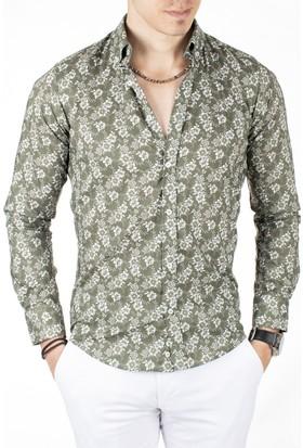 Deepsea Yeşil Çiçek Desenli Uzun Kollu Erkek Gömlek 1804003