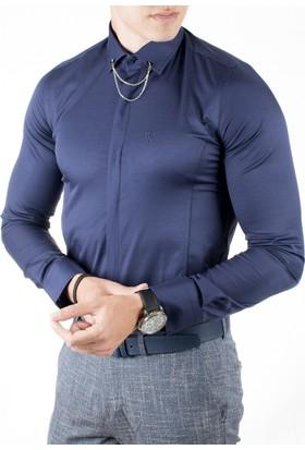 Deepsea Lacivert Gizli Düğmeli Önü Ve Arkası Pensli Dar Kesim Pamuk Saten Erkek Gömlek 1809015