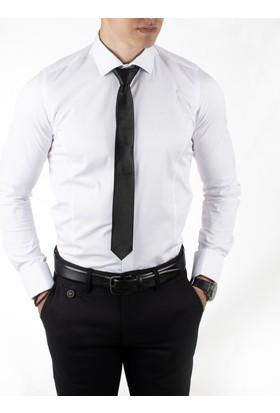 Deepsea Beyaz İtalyan Kesim Kol Düğmeli Likralı Pamuk Saten Erkek Gömlek 1809016