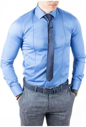 Deepsea Saks Mavi İtalyan Kesim Önü Ve Arkası Pensli Armalı Pamuk Saten Erkek Gömlek 1809017