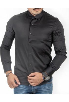 Deepsea Siyah Dar Kesim Çıtçıtlı- Armalı Pamuk Saten Uzun Kollu Erkek Gömlek 1809018