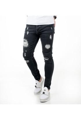 Deepsea Siyah Önü Yıpratmalı Skinny Kesim Likralı Yırtık-Yamalı Erkek Kot Pantolon 1802076