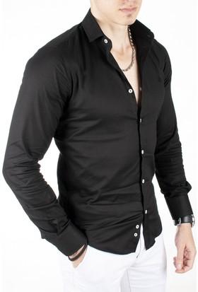 Deepsea Siyah Kendinden Desenli Uzun Kollu Erkek Gömlek 1803087