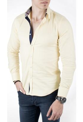Deepsea Sarı Kendinden Desenli Likralı Uzun Kollu Erkek Gömlek 1804100
