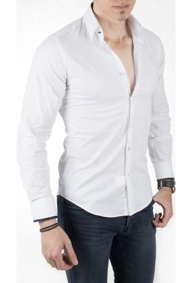 Deepsea Beyaz Nokta Desenli Kol Düğmeli Uzun Kollu Erkek Gömlek 1804112