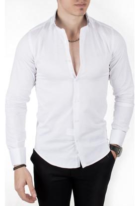 Deepsea Beyaz Kendinden Ufak Kare Desenli İtalyan Kesim Uzun Kollu Erkek Gömlek 1804123