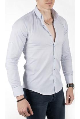Deepsea Beyaz Kendinden Örgü Desenli Uzun Kollu Erkek Gömlek 1804127