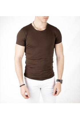 Deepsea Kahve Sıfır Yakalı Likralı Dar Kesim Basic Erkek Tshirt 1801131