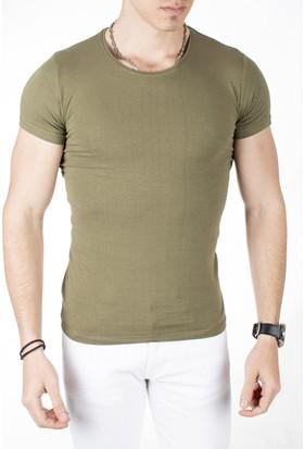 Deepsea Koyu Yeşil Sıfır Yakalı Likralı Dar Kesim Basic Erkek Tshirt 1801131