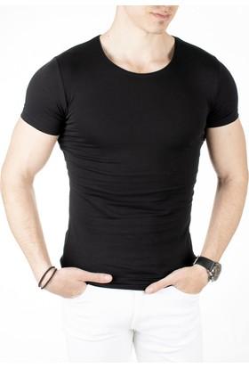 Deepsea Siyah Sıfır Yakalı Likralı Dar Kesim Basic Erkek Tshirt 1801131