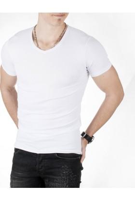 Deepsea Beyaz V Yakalı Likralı Dar Kesim Erkek Tshirt 1801165