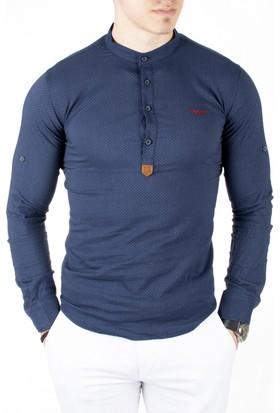 Deepsea Lacivert Yarım Pat Kumaşı Desenli Hakim Yaka Likralı Uzun Kollu Erkek Gömlek 1801804