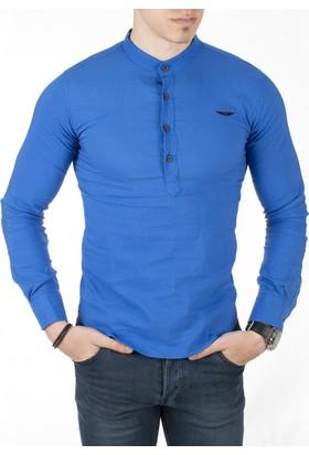 Deepsea Saks Mavi Yarım Pat Kumaşı Desenli Hakim Yaka Likralı Uzun Kollu Erkek Gömlek 1801804