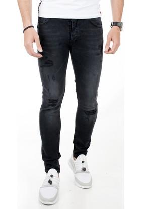 Deepsea Siyah Yıpratmalı Yırtık Modelli Likralı Erkek Kot Pantolon 1800816