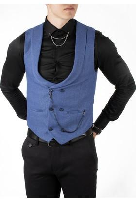 Deepsea İndigo Mavi Zincir Aksesuarlı Çift Düğmeli Kruvaze Yaka Erkek Cepken-Yelek 1808933