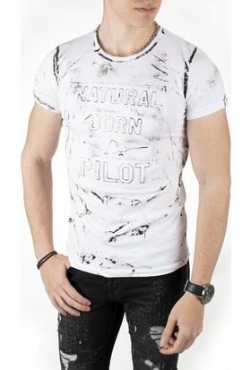 Deepsea Beyaz Fırça Boya Desenli Kabartma Baskılı Likralı Erkek Tshirt 1819077